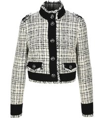 dolce & gabbana cropped single-breasted jacket in tweed with decorative buttons