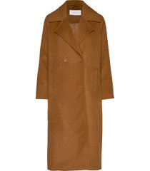copenhagen coat wollen jas lange jas bruin camilla pihl