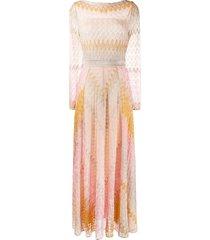 missoni fine-knit flared dress - pink