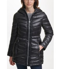 karl lagerfeld paris hooded logo tape puffer coat