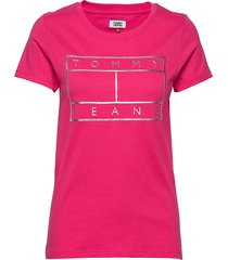 tjw metallic flag tee t-shirts & tops short-sleeved rosa tommy jeans