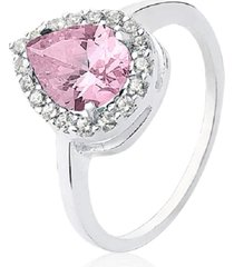 anel prata rara princesa gota cristal rosa