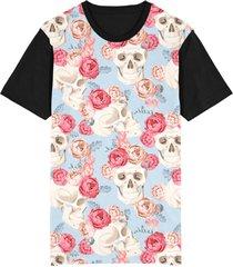 camiseta migian caveira flores rosas sublimada azul - kanui