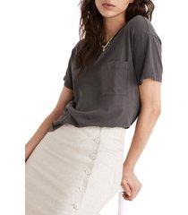 women's madewell oversize softfade cotton pocket t-shirt, size xx-small - metallic