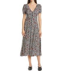 women's polo ralph lauren floral print crepe midi dress, size 2 - red