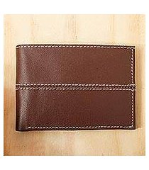 leather bifold wallet, 'highway in brown' (mexico)
