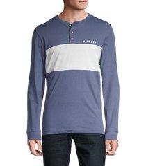 hurley men's coastal dunes colorblock jersey t-shirt - dark blue - size s