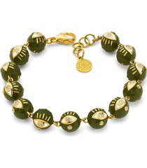 army green enamel bead bracelet