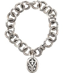 loree rodkin chunky cable link bracelet - silver