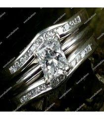 1 ct solitaire diamond princess cut 14k white gold fn bridal set engagement ring