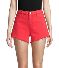 gemma mid-rise frayed hem denim shorts