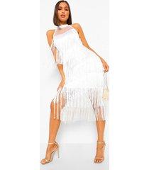 midi jurk met rafels, white