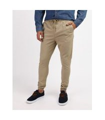 calça de sarja masculina jogger kaki