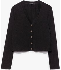 womens button our way ribbed knit cardigan - black