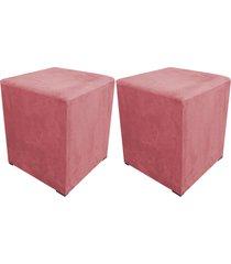 kit 02 puff decorativo dado quadrado suede rose - d'rossi