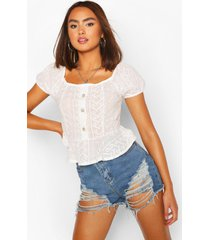 broderie cap sleeve ruffle top, ivory