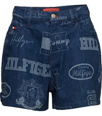 logo mania short shorts denim shorts blå tommy hilfiger