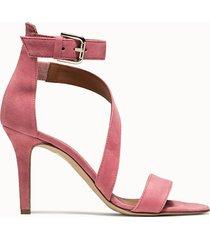via roma 15 sandalo in suede rosa