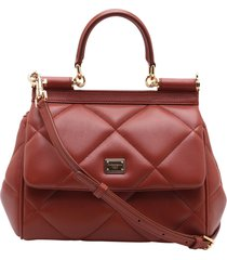 dolce & gabbana sicily leather tote bag
