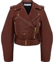jw anderson wide-sleeves biker jacket - brown