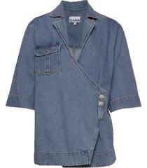 washed denim overhemd met korte mouwen blauw ganni