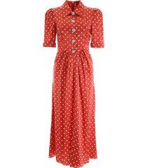 alessandra rich crystal button dress with polka dots