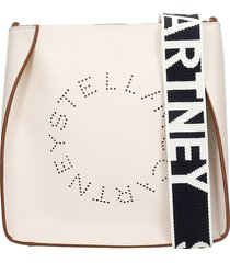 stella mccartney eco soft shoulder bag in white faux leather