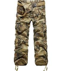 camouflage uomo 100% cotone casual tascabile carico pantaloni pantaloni dritti