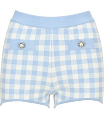 alessandra rich gingham cotton knitted hot pants