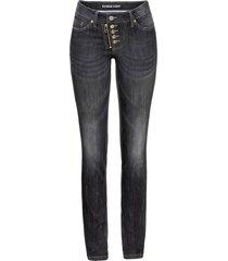 jeans skinny con abbottonatura a vista e zip (nero) - rainbow