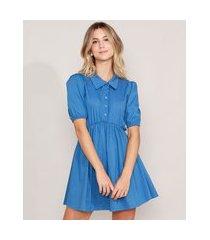 vestido chemise com franzido curto manga bufante azul
