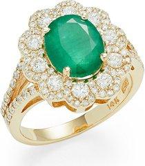 effy women's 14k yellow gold, emerald & diamond flower cocktail ring - size 7