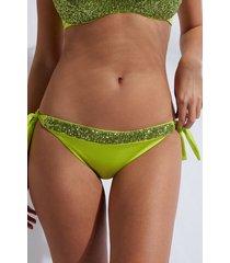 calzedonia side tie brazilian swimsuit bottom cannes woman green size 1