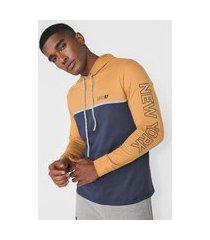 camiseta aeropostale color block capuz amarela/azul-marinho