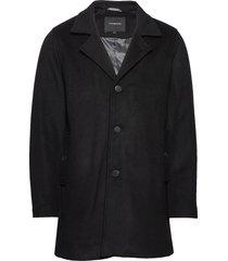 melange wool coat wollen jas lange jas zwart lindbergh