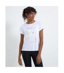 camiseta esportiva estampa localizada | get over | branco | p