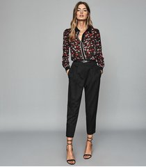 reiss poppy - floral printed blouse in red/ black, womens, size 12