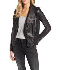 women's chelsea28 leather moto jacket, size medium - black