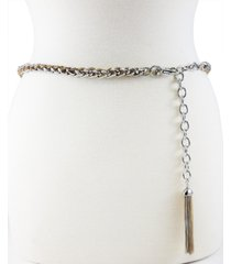 fashion focus tubular twist chain belt with tassel ornament