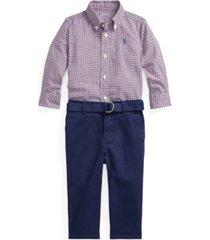 ralph lauren baby boys shirt, belt and pant set