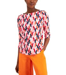 charter club petite cotton printed 3/4-sleeve top, created for macy's
