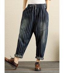 pantaloni larghi in vita elastica a righe in denim