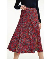 tommy hilfiger women's floral print midi skirt camo floral / daring scarlet - 14