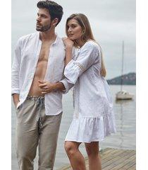 pijama masculino l'acqua linho longo p  muguet home - incolor - masculino - linho - dafiti
