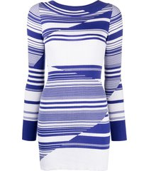 missoni horizontal-stripe ribbed-knit dress - white