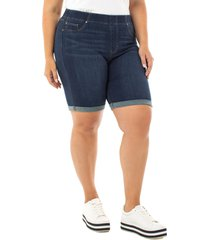 plus size women's liverpool chloe roll cuff denim bermuda shorts