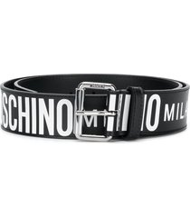 moschino all-over logo belt - black