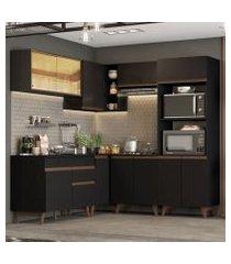 cozinha completa de canto madesa reims 402001 com armário e balcão preto preto
