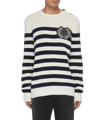 embroidered monogram patch stripe cotton blend sweater