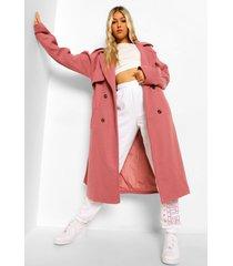 tall nepwollen trenchcoat met ceintuur, pink